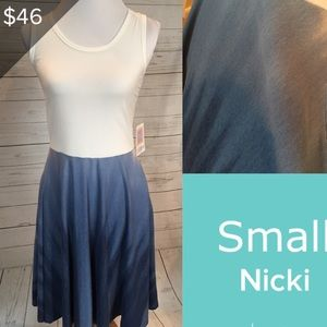 New LuLaRoe NICKI small OMBRÉ dress white blue